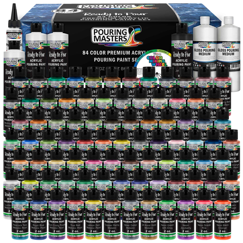 84-Color Ready to Pour Acrylic Pouring Paint Set with Silicone Oil & Gloss Medium - Premium Pre-Mixed High Flow 2-Ounce & 8-Ounce Bottles