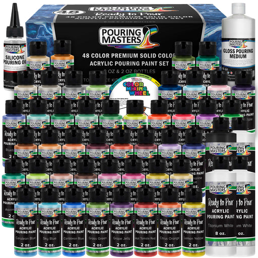 48-Color Ready to Pour Acrylic Pouring Paint Set with Silicone Oil & Gloss Medium - Premium Pre-Mixed High Flow 2-Ounce & 8-Ounce Bottles