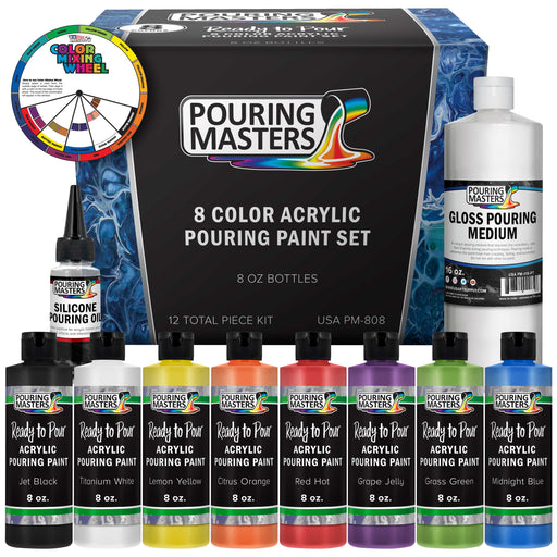 8-Color Ready to Pour Acrylic Pouring Paint Set - Premium Pre-Mixed High Flow 8-Ounce Bottles - for Canvas, Wood, Paper, Crafts, Tile, Rocks and More
