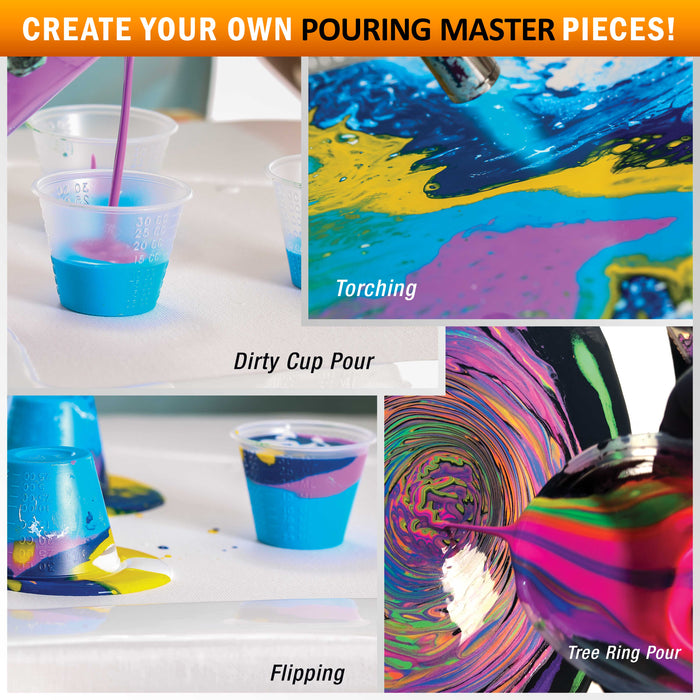 16-Color Metallic Ready to Pour Acrylic Metallic Pouring Paint Set with Silicone Oil & Gloss Medium - Premium Pre-Mixed High Flow 8-Ounce Bottles