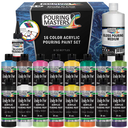 16-Color Ready to Pour Acrylic Pouring Paint Set with Silicone Oil & Gloss Medium - Premium Pre-Mixed High Flow 8-Ounce Bottles