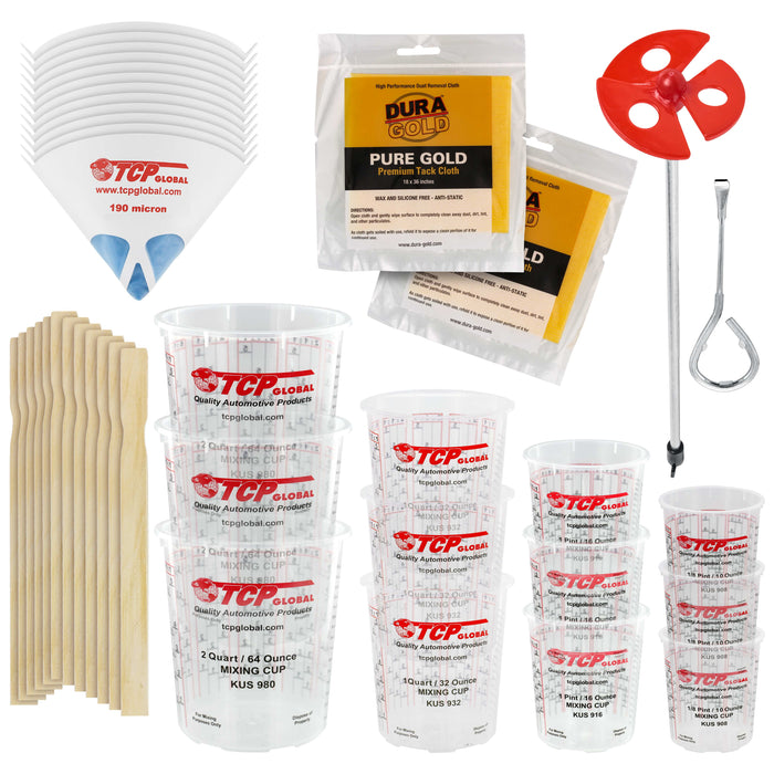 Pouring Masters Ultimate Paint Mixing Cup Kit - 12 Plastic Graduated Mixing Cups, 4 Cup Sizes - 12 Sticks, 12 Strainers, 2 Tack Cloths, Mixer Blade