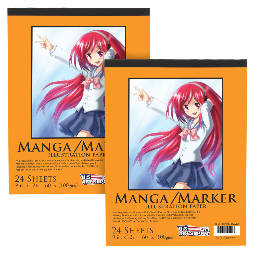 "9"" x 12"" Premium Manga-Marker Paper Pad, 60 Pound (100gsm), Pad of 24-Sheets (Pack of 2 Pads)"