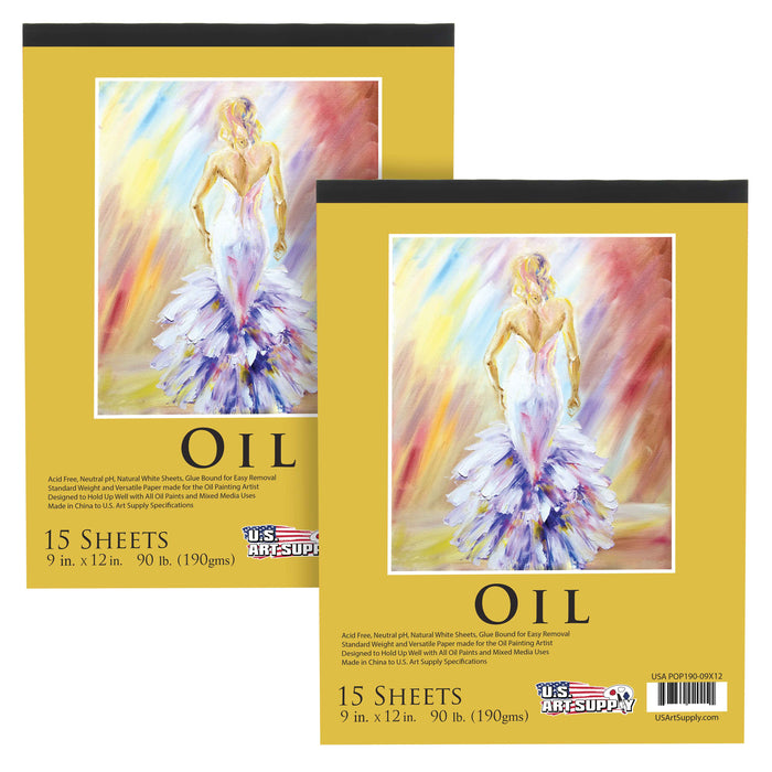 "9"" x 12"" Premium Heavy-Weight Oil Painting Paper Pad, 90 Pound (190gsm), Pad of 15-Sheets (Pack of 2 Pads)"