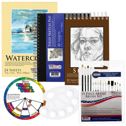 20 Piece Artist Drawing, Sketch and Painting - Paper and Brush Accessory Pack