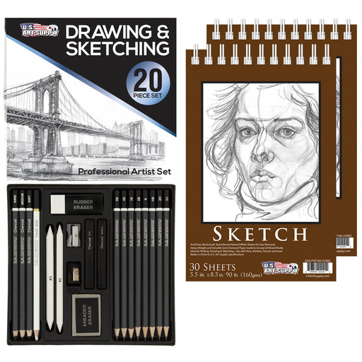 "20 Piece Professional Hi-Quality Artist Sketch Set in Hard Storage Case - Sketch & Charcoal Pencils, Pastel, Stumps, Eraser, Sharpeners - Bonus Pack of 2-5.5"" x 8.5"" Sketch Pads"
