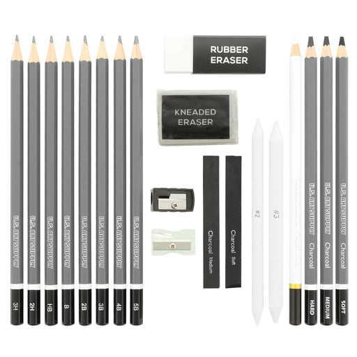 20 Piece Professional Hi-Quality Artist Sketch Set in Hard Storage Case - Sketch & Charcoal Pencils, Pastel, Stumps, Eraser, Sharpeners