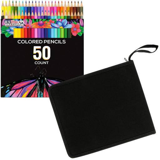 50 Piece Adult Coloring Book Artist Grade Colored Pencil Set and Bonus Zippered Carry Case