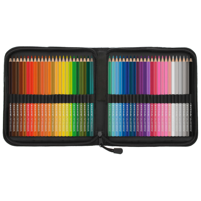 48 Piece Watercolor Artist Grade Water Soluble Colored Pencil Set with Zippered Case