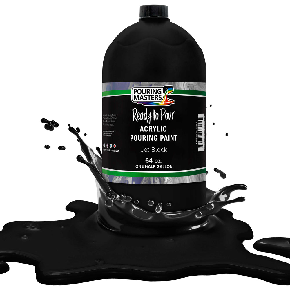 Jet Black Acrylic Ready to Pour Pouring Paint - Premium 64-Ounce Pre-Mixed Water-Based - for Canvas, Wood, Paper, Crafts, Tile, Rocks and More