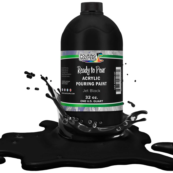 Jet Black Acrylic Ready to Pour Pouring Paint – Premium 32-Ounce Pre-Mixed Water-Based - for Canvas, Wood, Paper, Crafts, Tile, Rocks and More