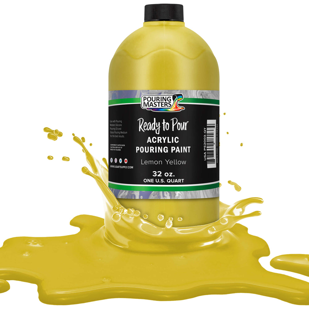 Lemon Yellow Acrylic Ready to Pour Pouring Paint – Premium 32-Ounce Pre-Mixed Water-Based - for Canvas, Wood, Paper, Crafts, Tile, Rocks and More