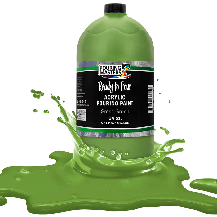 Grass Green Acrylic Ready to Pour Pouring Paint Premium 64-Ounce Pre-Mixed Water-Based - for Canvas, Wood, Paper, Crafts, Tile, Rocks and More