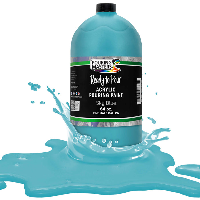 Sky Blue Acrylic Ready to Pour Pouring Paint Premium 64-Ounce Pre-Mixed Water-Based - for Canvas, Wood, Paper, Crafts, Tile, Rocks and More
