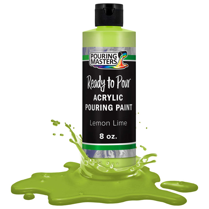 Lemon Lime Acrylic Ready to Pour Pouring Paint Premium 8-Ounce Pre-Mixed Water-Based - for Canvas, Wood, Paper, Crafts, Tile, Rocks and More