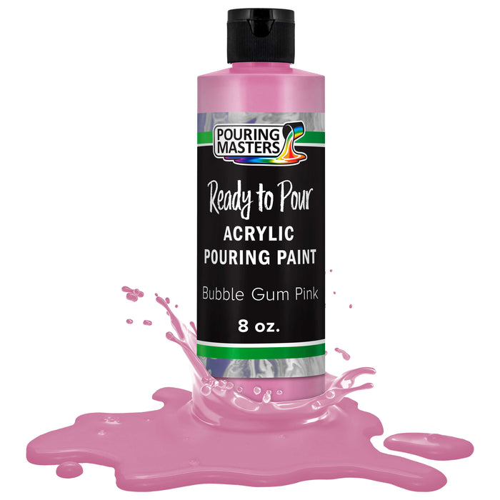 Bubble Gum Pink Acrylic Ready to Pour Pouring Paint – Premium 8-Ounce Pre-Mixed Water-Based - for Canvas, Wood, Paper, Crafts, Tile, Rocks and More