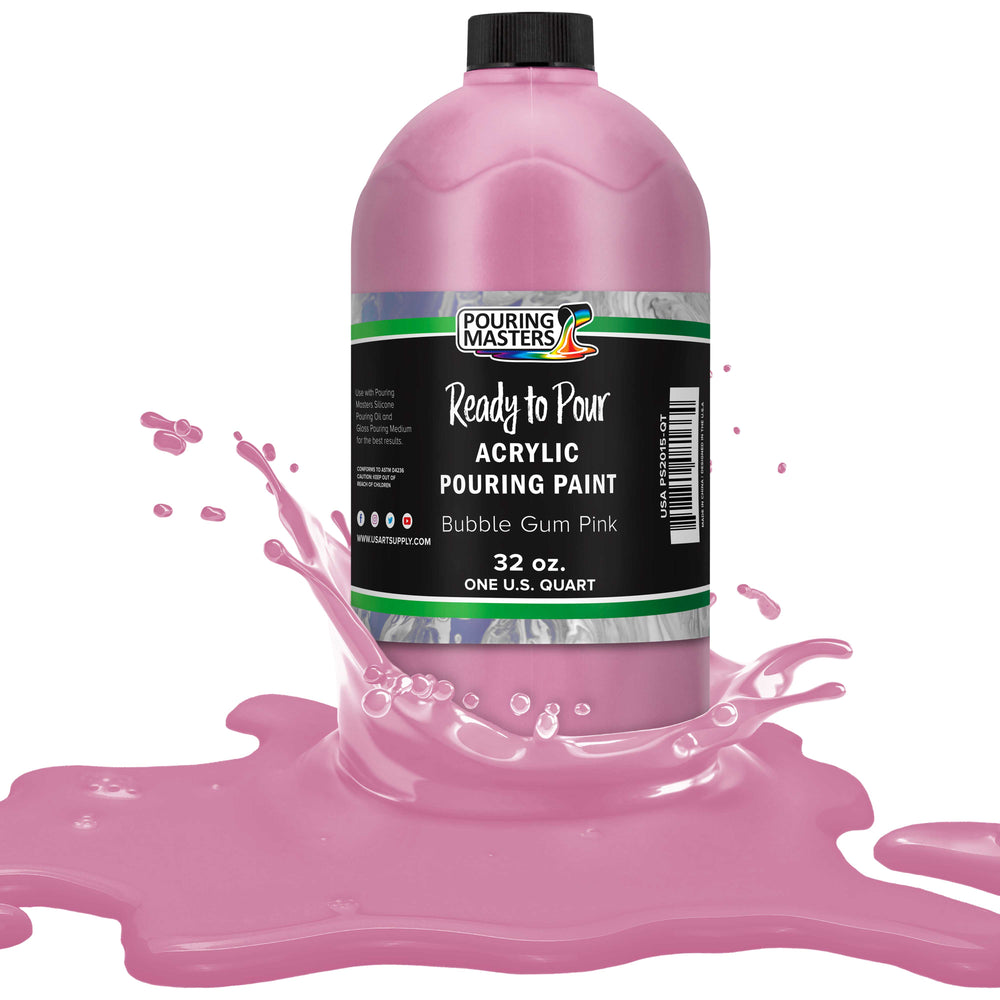 Bubble Gum Pink Acrylic Ready to Pour Pouring Paint – Premium 32-Ounce Pre-Mixed Water-Based - for Canvas, Wood, Paper, Crafts, Tile, Rocks and More