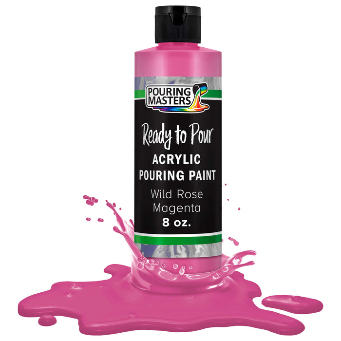 Wild Rose Magenta Acrylic Ready to Pour Pouring Paint – Premium 8-Ounce Pre-Mixed Water-Based - for Canvas, Wood, Paper, Crafts, Tile, Rocks and More
