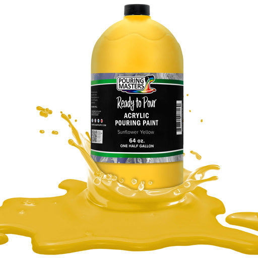 Sunflower Yellow Acrylic Ready to Pour Pouring Paint Premium 64-Ounce Pre-Mixed Water-Based - for Canvas, Wood, Paper, Crafts, Tile, Rocks and More