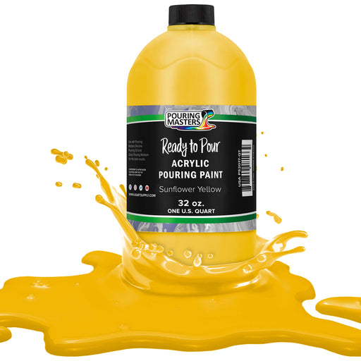 Sunflower Yellow Acrylic Ready to Pour Pouring Paint Premium 32-Ounce Pre-Mixed Water-Based - for Canvas, Wood, Paper, Crafts, Tile, Rocks and More