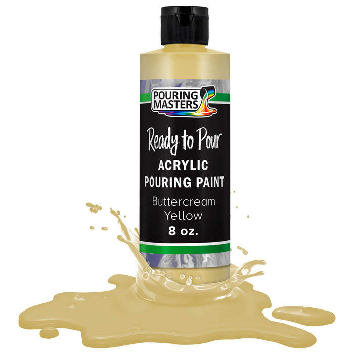 Buttercream Yellow Acrylic Ready to Pour Pouring Paint – Premium 8-Ounce Pre-Mixed Water-Based - for Canvas, Wood, Paper, Crafts, Tile, Rocks and More