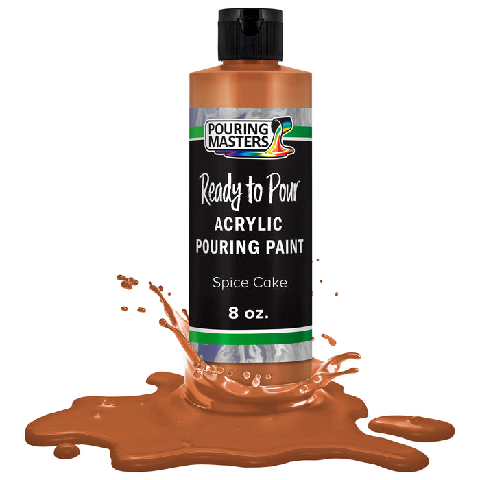 Spice Cake Acrylic Ready to Pour Pouring Paint Ð Premium 8-Ounce Pre-Mixed Water-Based - for Canvas, Wood, Paper, Crafts, Tile, Rocks and More