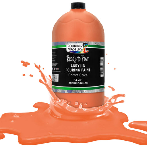 Carrot Cake Acrylic Ready to Pour Pouring Paint Premium 64-Ounce Pre-Mixed Water-Based - for Canvas, Wood, Paper, Crafts, Tile, Rocks and More