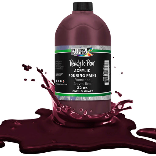 Romance Novel Red Acrylic Ready to Pour Pouring Paint Premium 32-Ounce Pre-Mixed Water-Based - for Canvas, Wood, Paper, Crafts, Tile, Rocks and More