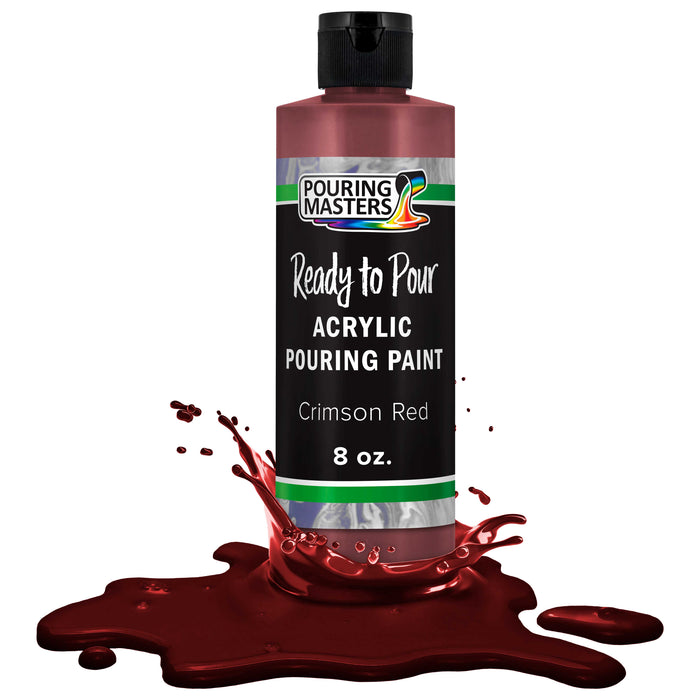 Crimson Red Acrylic Ready to Pour Pouring Paint – Premium 8-Ounce Pre-Mixed Water-Based - for Canvas, Wood, Paper, Crafts, Tile, Rocks and More