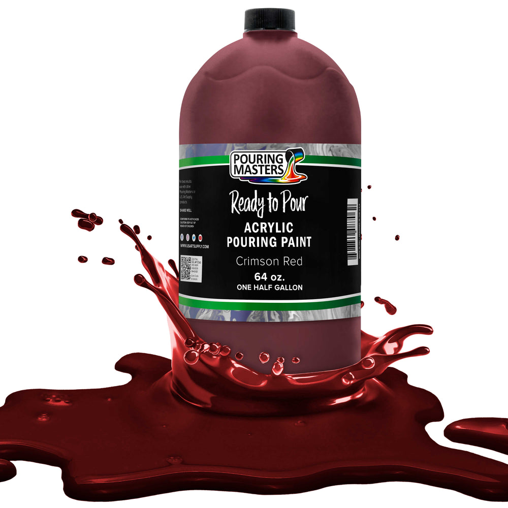 Crimson Red Acrylic Ready to Pour Pouring Paint Premium 64-Ounce Pre-Mixed Water-Based - for Canvas, Wood, Paper, Crafts, Tile, Rocks and More