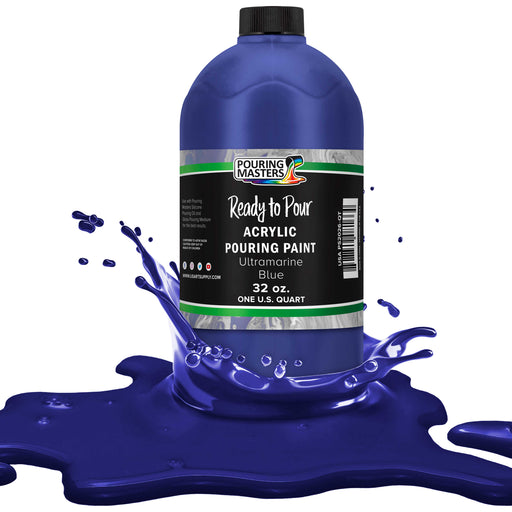 Ultramarine Blue Acrylic Ready to Pour Pouring Paint Premium 32-Ounce Pre-Mixed Water-Based - for Canvas, Wood, Paper, Crafts, Tile, Rocks and More