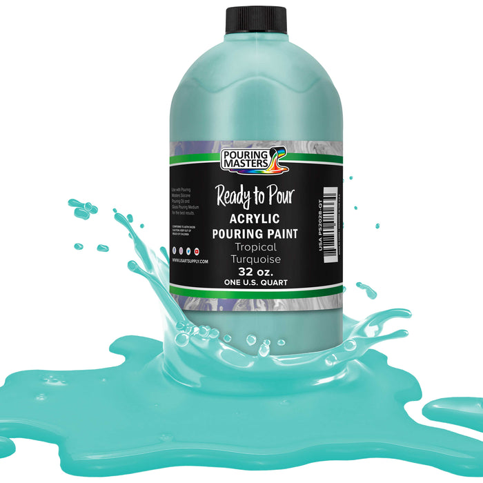 Tropical Turquoise Acrylic Ready to Pour Pouring Paint Premium 32-Ounce Pre-Mixed Water-Based - for Canvas, Wood, Paper, Crafts, Tile, Rocks and More