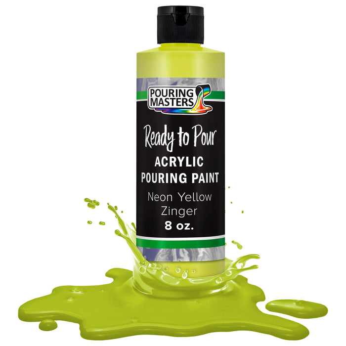 Neon Yellow Zinger Acrylic Ready to Pour Pouring Paint – Premium 8-Ounce Pre-Mixed Water-Based - for Canvas, Wood, Paper, Crafts, Tile, Rocks and More