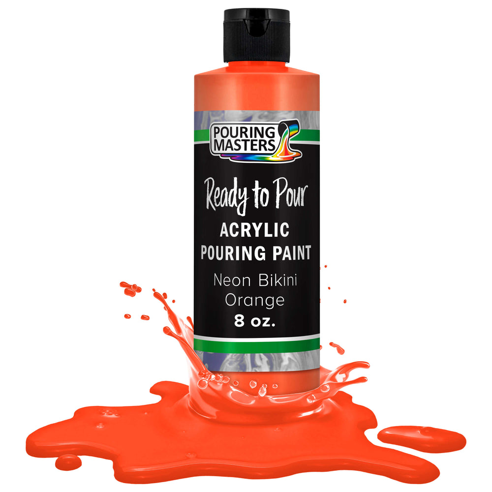 Neon Bikini Orange Acrylic Ready to Pour Pouring Paint Premium 8-Ounce Pre-Mixed Water-Based - for Canvas, Wood, Paper, Crafts, Tile, Rocks and More