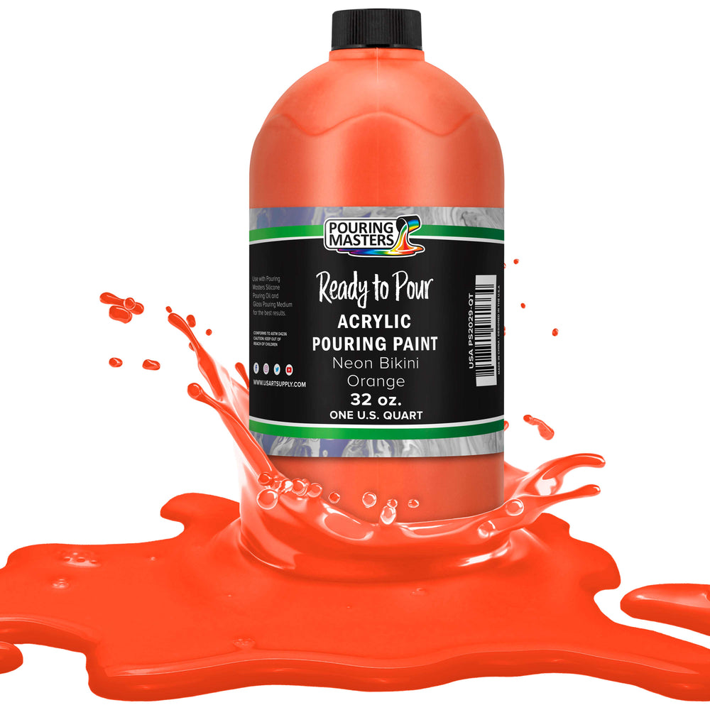 Neon Bikini Orange Acrylic Ready to Pour Pouring Paint – Premium 32-Ounce Pre-Mixed Water-Based - for Canvas, Wood, Paper, Crafts, Tile, Rocks and More