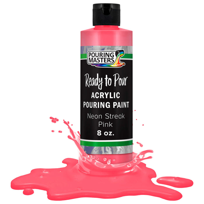 Neon Streak Pink Acrylic Ready to Pour Pouring Paint – Premium 8-Ounce Pre-Mixed Water-Based - for Canvas, Wood, Paper, Crafts, Tile, Rocks and More