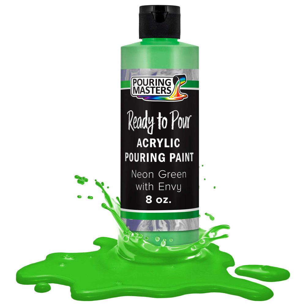 Neon Green with Envy Acrylic Ready to Pour Pouring Paint – Premium 8-Ounce Pre-Mixed Water-Based - for Canvas, Wood, Paper, Crafts, Tile, Rocks and More