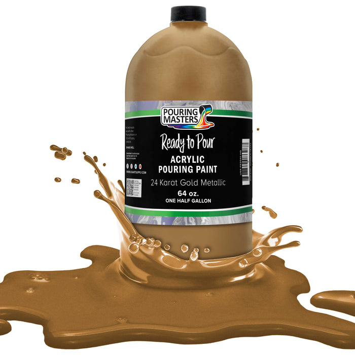 24 Karat Gold Metallic Acrylic Ready to Pour Pouring Paint ? Premium 64-Ounce Pre-Mixed Water-Based - for Canvas, Wood, Paper, Crafts, Tile, Rocks and More