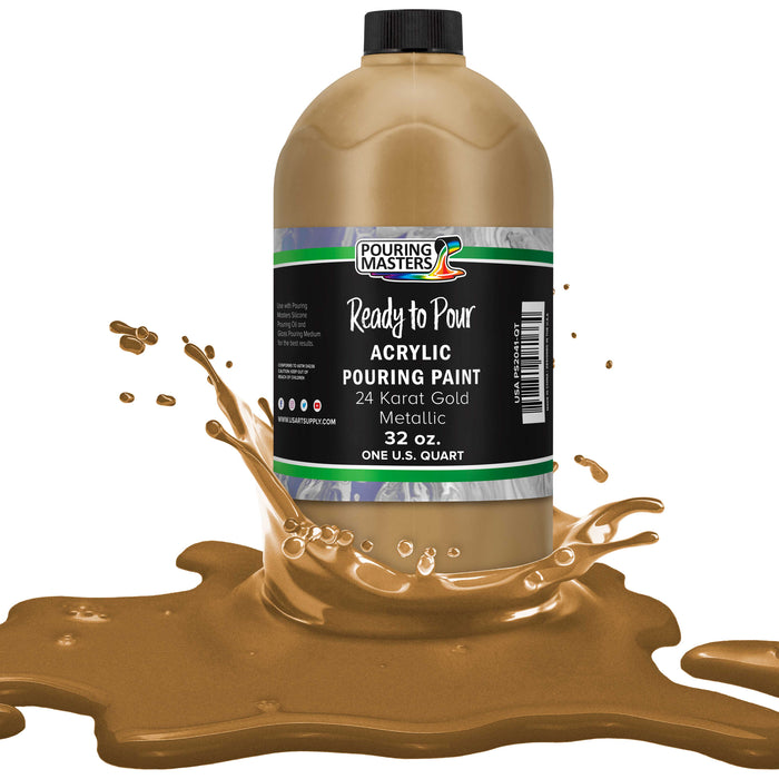 24 Karat Gold Metallic Acrylic Ready to Pour Pouring Paint ? Premium 32-Ounce Pre-Mixed Water-Based - for Canvas, Wood, Paper, Crafts, Tile, Rocks and More
