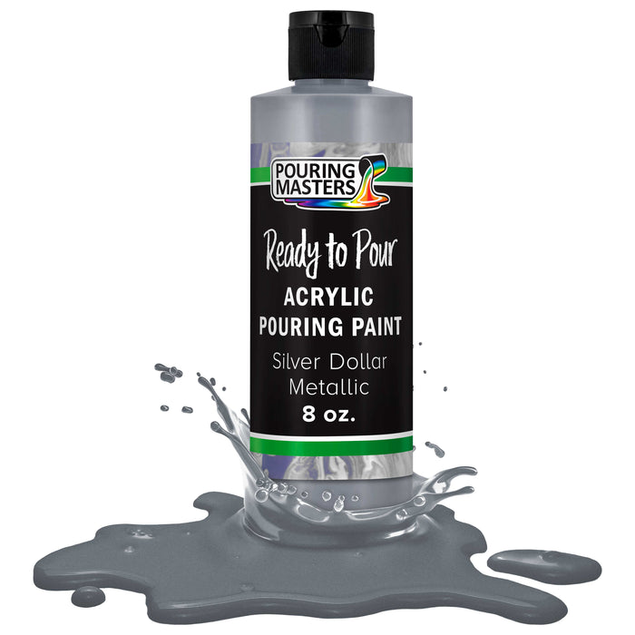 Silver Dollar Metallic Acrylic Ready to Pour Pouring Paint – Premium 8-Ounce Pre-Mixed Water-Based - for Canvas, Wood, Paper, Crafts, Tile, Rocks and More