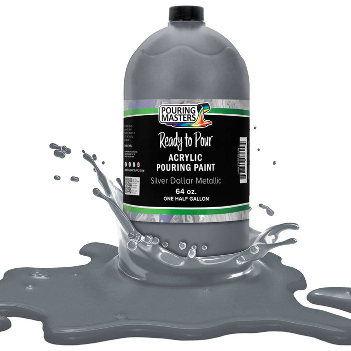 Silver Dollar Metallic Acrylic Ready to Pour Pouring Paint Premium 64-Ounce Pre-Mixed Water-Based - for Canvas, Wood, Paper, Crafts, Tile, Rocks and More