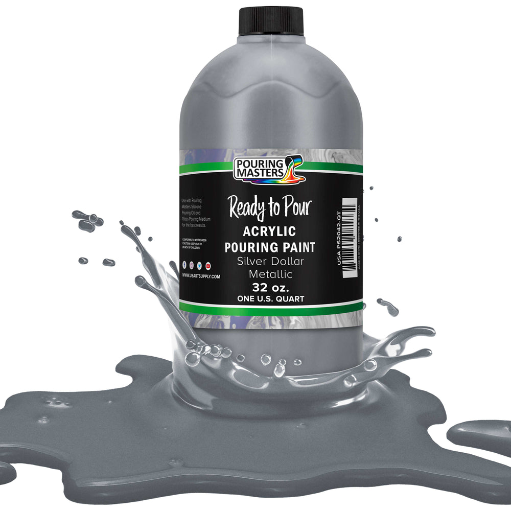 Silver Dollar Metallic Acrylic Ready to Pour Pouring Paint ? Premium 32-Ounce Pre-Mixed Water-Based - for Canvas, Wood, Paper, Crafts, Tile, Rocks and More