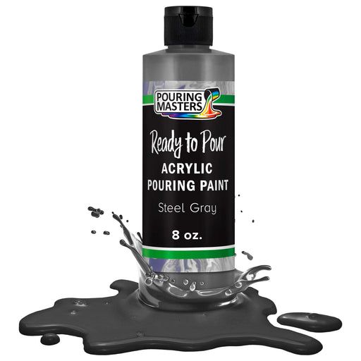 Steel Gray Acrylic Ready to Pour Pouring Paint Premium 8-Ounce Pre-Mixed Water-Based - for Canvas, Wood, Paper, Crafts, Tile, Rocks and More
