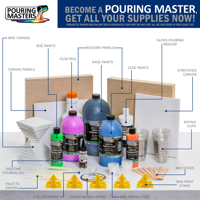 Steel Gray Acrylic Ready to Pour Pouring Paint Premium 64-Ounce Pre-Mixed Water-Based - for Canvas, Wood, Paper, Crafts, Tile, Rocks and More