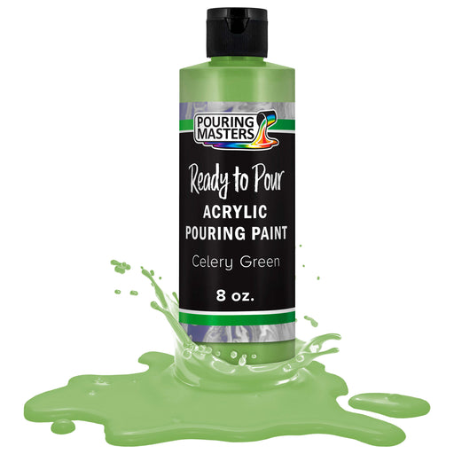 Celery Green Acrylic Ready to Pour Pouring Paint Premium 8-Ounce Pre-Mixed Water-Based - for Canvas, Wood, Paper, Crafts, Tile, Rocks and More