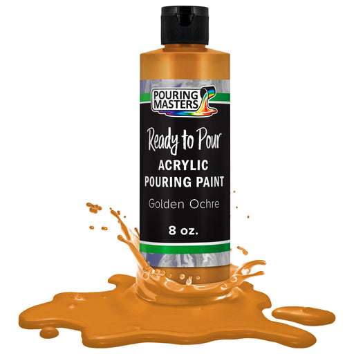 Golden Ochre Acrylic Ready to Pour Pouring Paint Premium 8-Ounce Pre-Mixed Water-Based - for Canvas, Wood, Paper, Crafts, Tile, Rocks and More