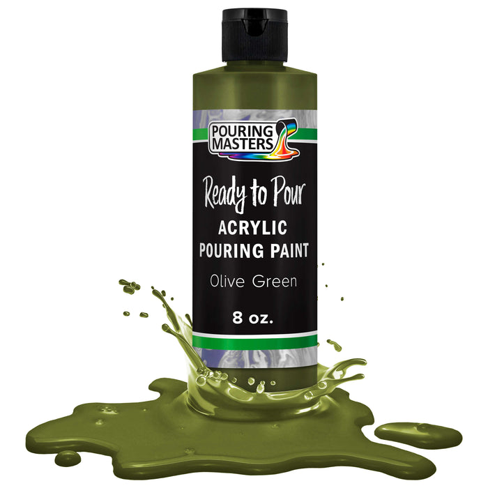 Olive Green Acrylic Ready to Pour Pouring Paint Premium 8-Ounce Pre-Mixed Water-Based - for Canvas, Wood, Paper, Crafts, Tile, Rocks and More