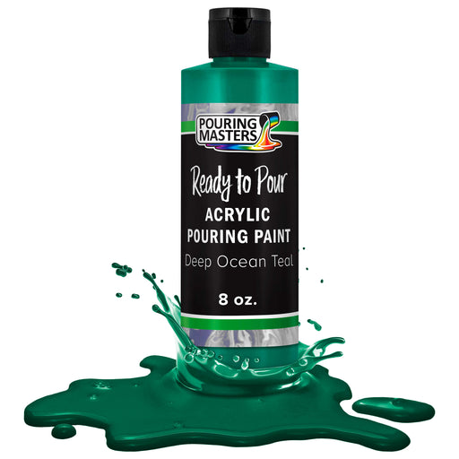 Deep Ocean Teal Acrylic Ready to Pour Pouring Paint Premium 8-Ounce Pre-Mixed Water-Based - for Canvas, Wood, Paper, Crafts, Tile, Rocks and More