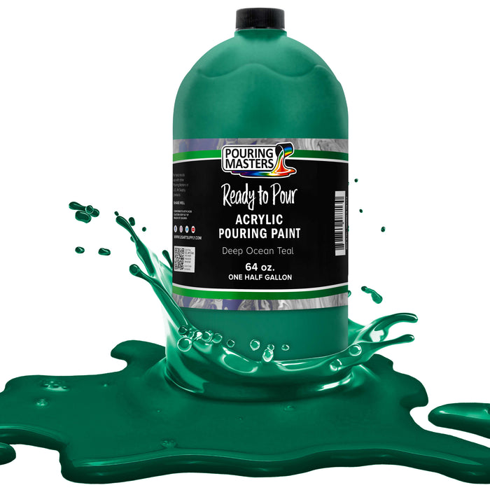 Deep Ocean Teal Acrylic Ready to Pour Pouring Paint Premium 64-Ounce Pre-Mixed Water-Based - for Canvas, Wood, Paper, Crafts, Tile, Rocks and More