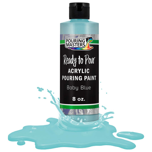 Baby Blue Acrylic Ready to Pour Pouring Paint Premium 8-Ounce Pre-Mixed Water-Based - for Canvas, Wood, Paper, Crafts, Tile, Rocks and More